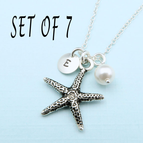Set Of 7 Starfish Necklaces Beach Wedding Bridesmaid Gift Necklace Jewelry Personalized Bridesmaids Gifts