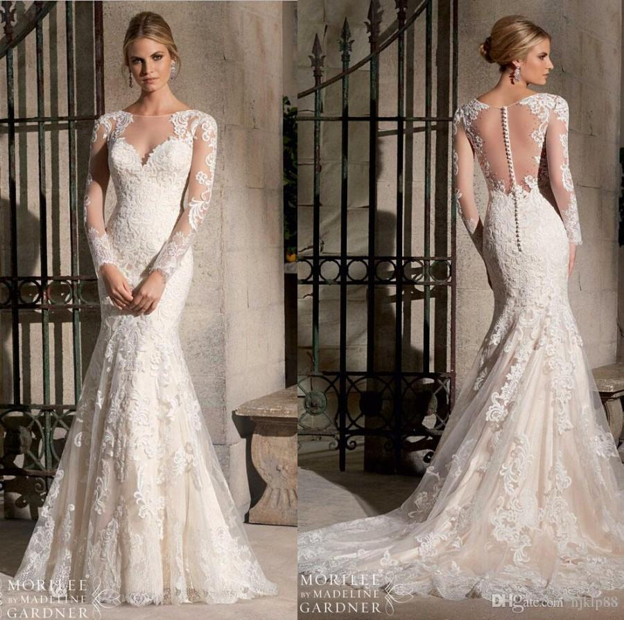 Hochzeit - Lace Wedding Gowns 2015 New Arrival Custom Made Sexy Illusion Bateau Neck Backless Long Sleeve Lace Bridal Gown Mermaid Wedding Dresses Short Wedding Gowns From Hjklp88, $139.42