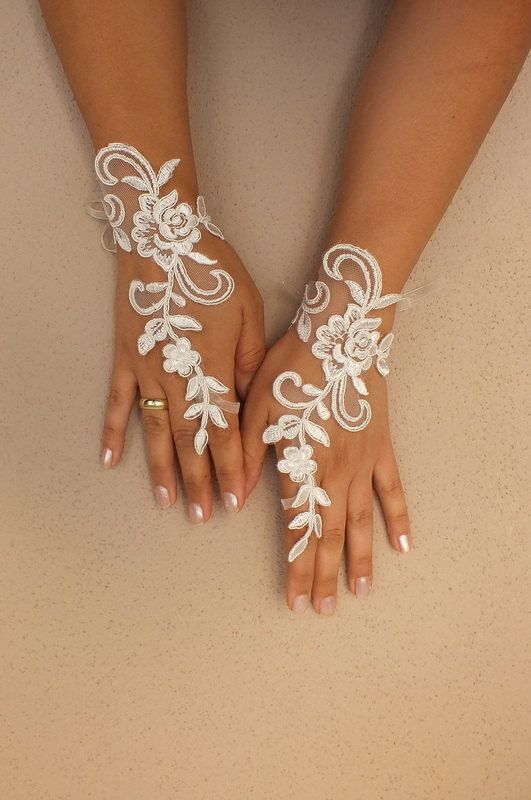 Unique Ivory French Lace Gloves Free Ship Wedding Prom ...