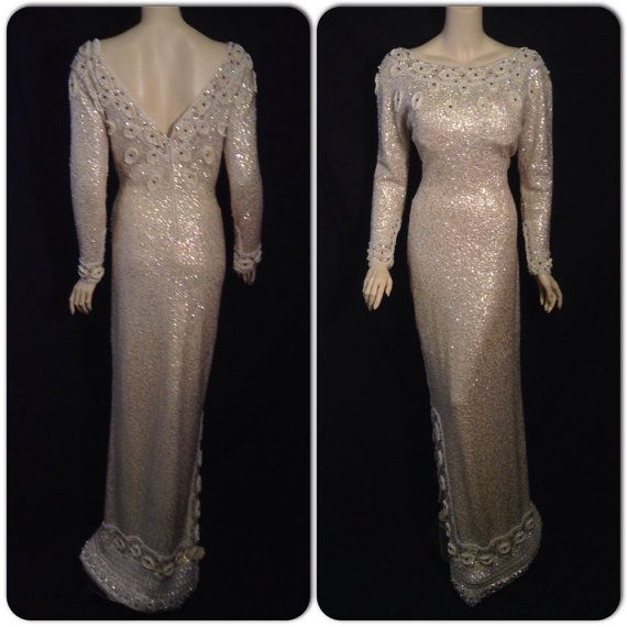 Wedding - L XL Sequined Stunning Knit Gown Dripping In Sequins Rhinestone Gems And Beading Bridal Burlesque Showgirl Wedding VLV