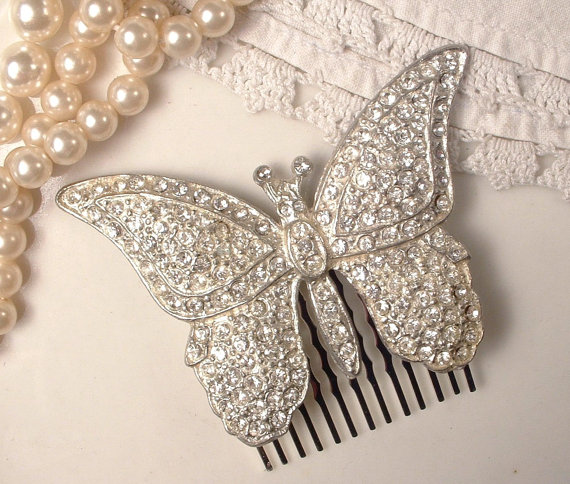 Hochzeit - 1930s Bridal Butterfly Hair Comb, Art Deco Vintage Clear Rhinestone Accessory, Silver Pave Brooch to Hairpiece Woodland Garden Wedding 1920s