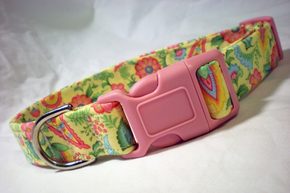 Hochzeit - Wedding Dog Collar Girl Boy Pink Yellow Flowers Paisley by Pinky's Pet Gear