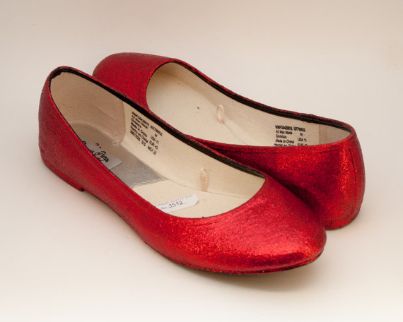 Ready 2 Ship Size 11 Wide Glitter Candy Apple Red Ballet Flats Slippers  Shoes c3d1df9896