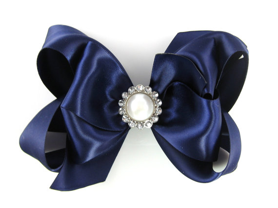 Свадьба - MORE COLORS Satin Hair Bow Navy Blue Double Layer Pearl Rhinestone Center - Extra Large Big 5 Inch Baby Girl - Boutique Hairbows Weddings