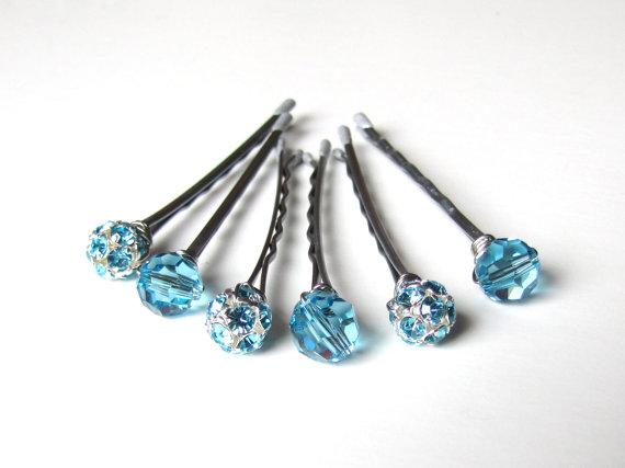 Свадьба - Something Blue Wedding Hair Pin Mixed Set