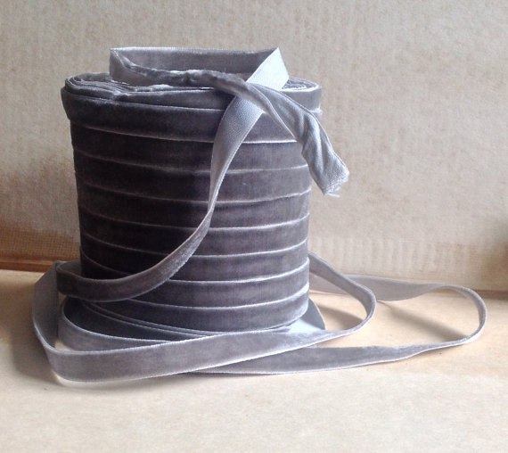 Wedding - pewter grey velvet ribbon