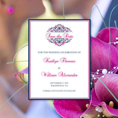 save the date invitations grace malibu blue black printable