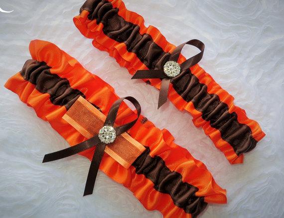 Mariage - Orange and Brown Garter Set, Keepsake and Toss-away Garter Set, Ribbon Garter, Prom Garter, Orange Garter, Bridal Garter, Wedding Garter