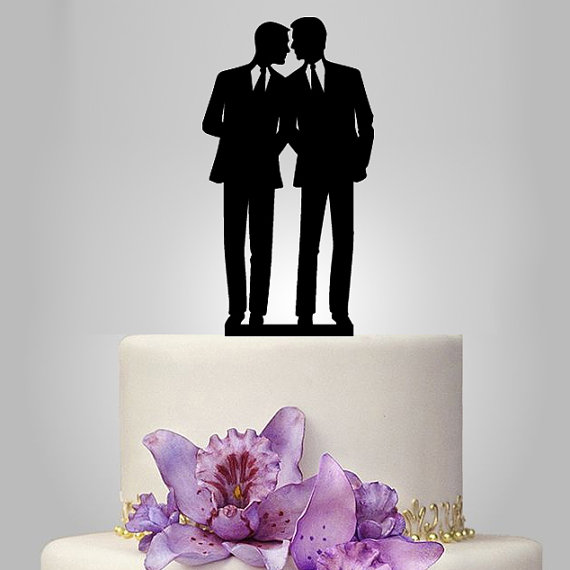 Hochzeit - Gay cake topper for wedding, same sex cake topper,wedding cake topper silhouette, birthday cake topper, unique cake topper for men gift