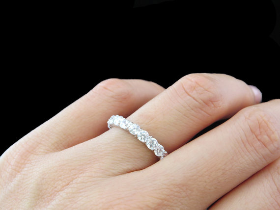 Hochzeit - 2 Carat Eternity Band, Round, Wedding Band, 3mm, Engagement Ring, Man Made White Diamond Simulants, Bridal, Promise Ring, Sterling Silver