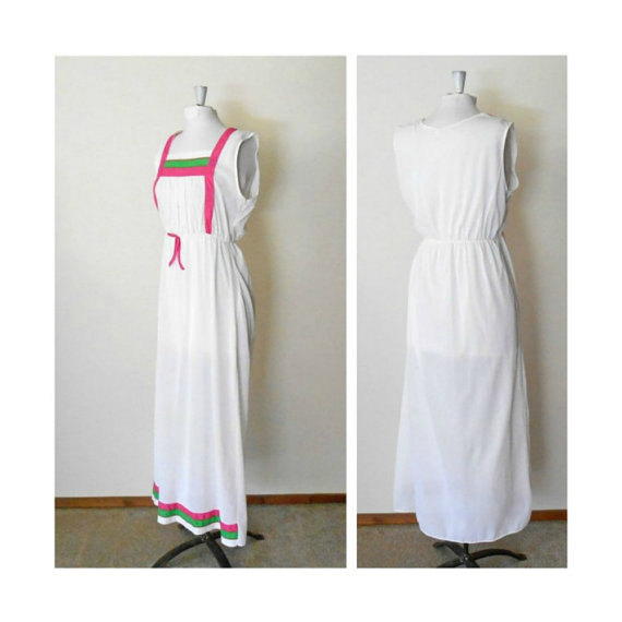 "Hochzeit - White Sleeveless Adult Nightgown - Summer Lingerie - Maxi Long Full Floor Length - Pink Green - Vintage 60s 70s Womens 34"" Bust Size Medium"