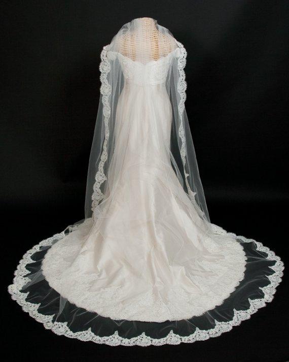 Hochzeit - Alencon Lace Wedding Veil, Cathedral Length bridal veil, with monogram