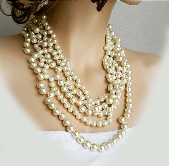 Свадьба - Chunky Statement Pearl Necklace, Wedding Necklace, Bridal Necklace, Multi Strand Pearl Necklace, Bridal Jewelry Bib