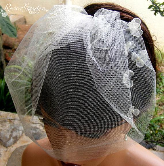 Свадьба - White or Ivory blusher birdcage veil with Organza flowers, Illusion veil, Voilette