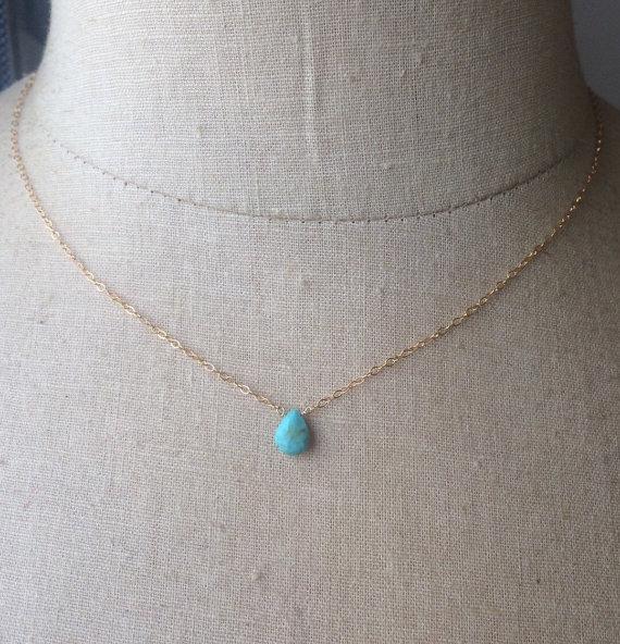 زفاف - Turquoise Drop, Turquoise Necklace, December Birthstone, Birthstone Necklace, Bridesmaid Necklaces, Something Blue, Bridal Necklace