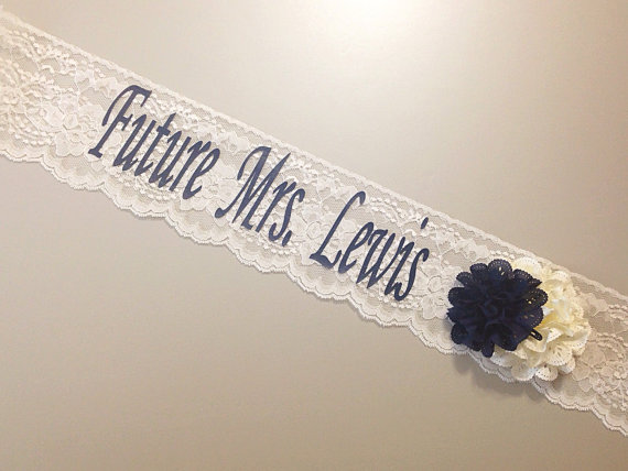Wedding - Lace Bachelorette Sash - Lace Bridal Shower Sash - Basic Lace ***Design Your Own Sash*** IVORY