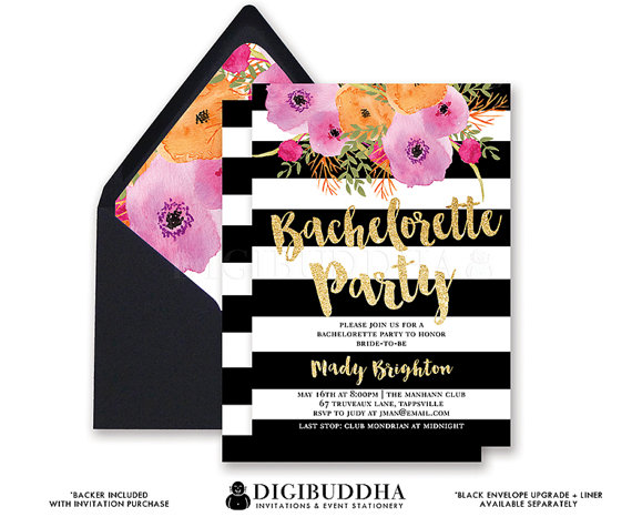 BACHELORETTE PARTY INVITATION Black White Stripe Bridal Shower Invites Gold Glitter Flower Wedding Hens Free Shipping Or DiY Printable Mady
