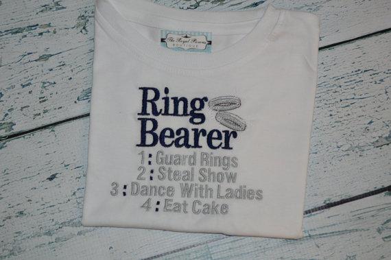 Mariage - Ring Bearer Custom Embroidered Shirt Wedding Tee