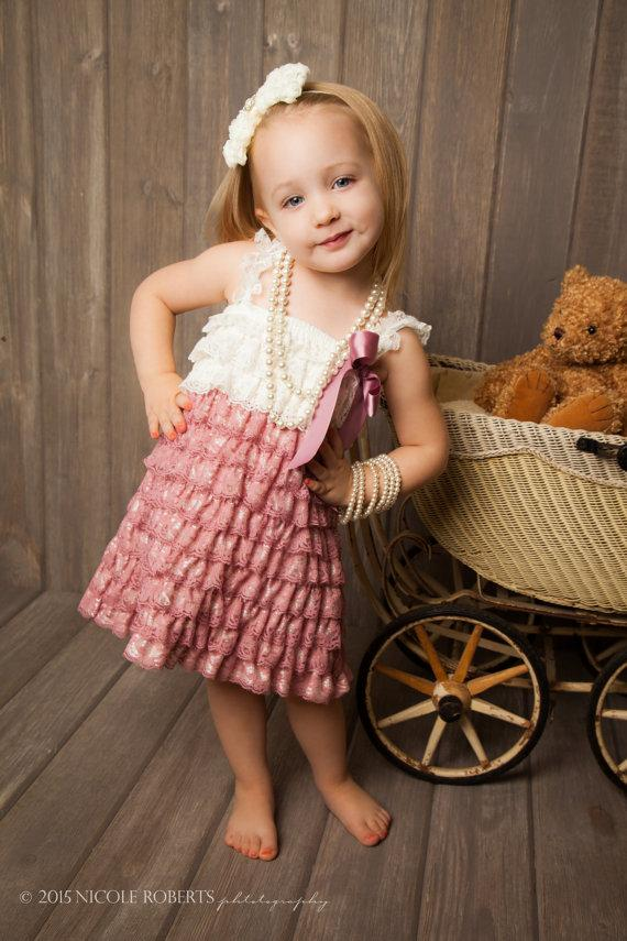 Dusty Rose Vintage Lace Petti Romper Dress - Rustic Dress ...