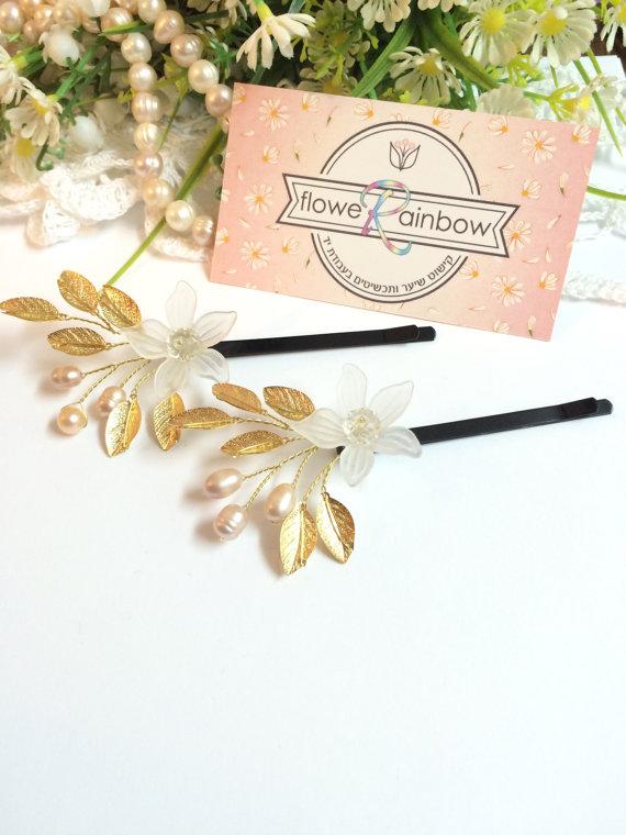 Свадьба - Bridal bobby pins x2, bobby pins wedding, pearl hair pins for bride, hair pins for wedding, hair accessories bridal, wedding bobby pins