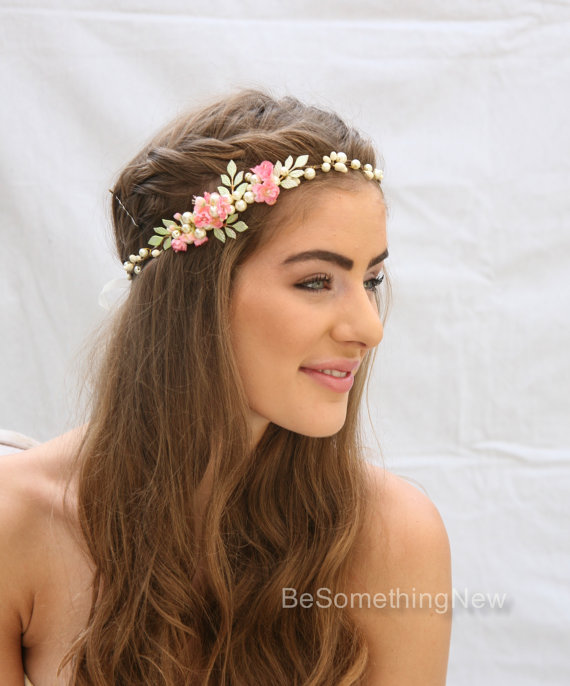 Rustic Wedding Flower Crown With Hand Painted Leaves And Pink