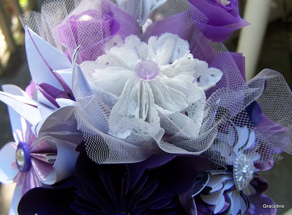 Свадьба - Origami Bouquet Lavender and Lace Everlasting Flowers Set of 6 Origami Flowers
