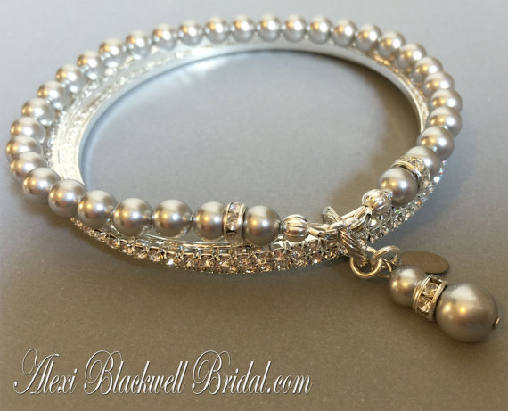 زفاف - Bridesmaid Bracelet Bangle Trio with Rhinestone and Pearl in Light Grey and Silver or Gold your choice colors wedding bridesmaids gift gifts