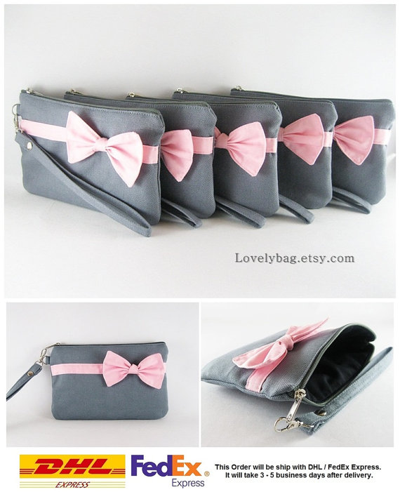 Wedding - Set of 9 Bridesmaids Clutches, Wedding Clutches / Gray with Little Light Pink Bow Clutches - MADE TO ORDER