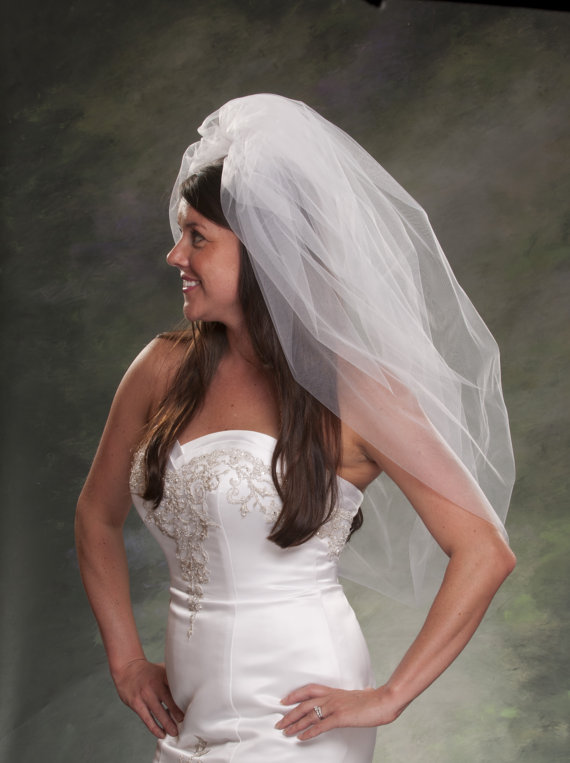 Poufy Veils Bubble Elbow Length Bridal 36 Inch Long Light Ivory Tulle Y Diamond White