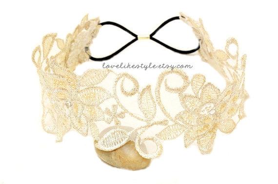 Hochzeit - Light Gold Flower Metallic Lace with Champagne Satin Sash // Bridal Sash
