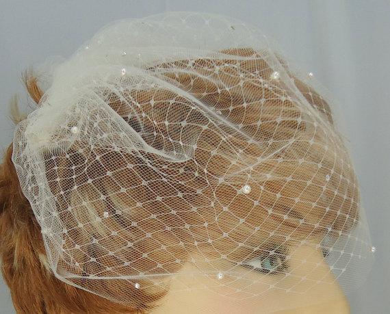 "Mariage - Wedding Veil, 9"" Crystal Pearl Veil, Double Layer Veil, Russian Veiling Illusion Tulle Bridal Veil, Bridal Veil"