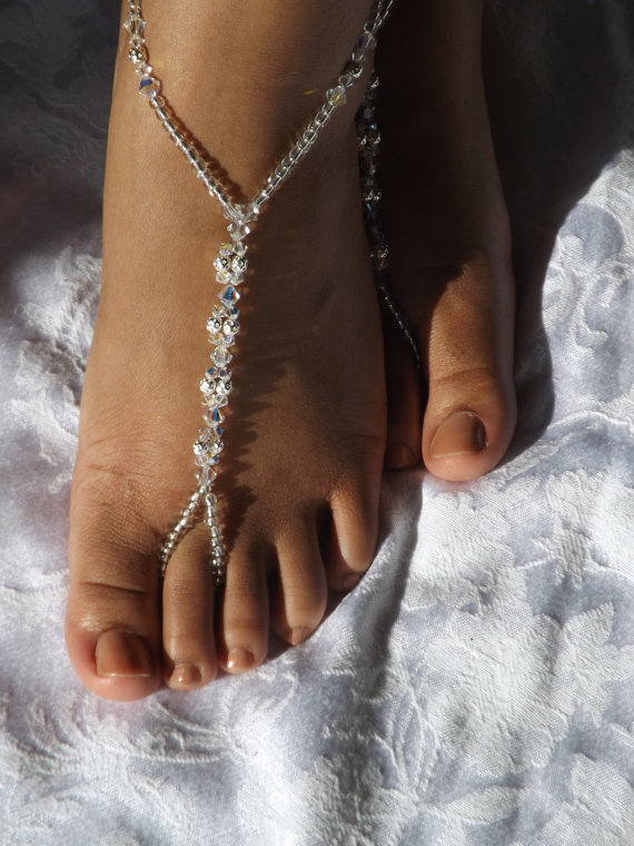 Mariage - FREE RUSH ORDER Bridal Jewelry Barefoot Sandal Foot Jewelry Beach Weddings Anklet Bridesmaids Gift