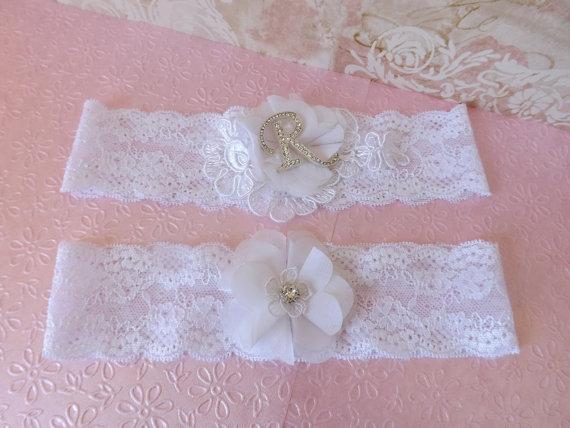 Mariage - Lace Wedding Garter Set Chiffon Flower Crystal Monogram