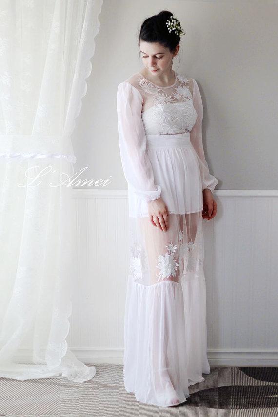 Long sleeve chiffon wedding dress with sheer skirt for Simply elegant wedding dresses