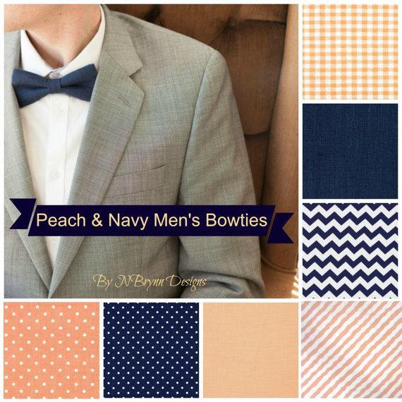 Wedding - Men's peach and navy bowties - gingham plaid chevron pin dots linen stripes peach wedding bow tie groomsmen ring bearer mens bow tie groom