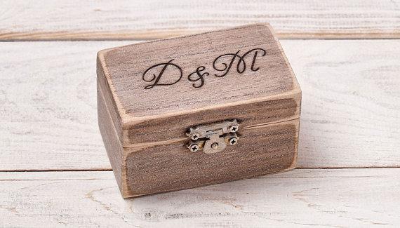 Ring Bearer Pillow Engraved Ring Box Rustic Wood Ring Box
