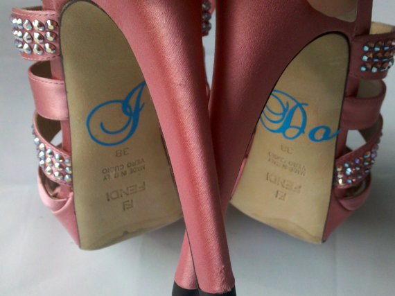 Mariage - I Do stickers, something blue for brides shoes.  Sky blue vinyl decal for wedding heels