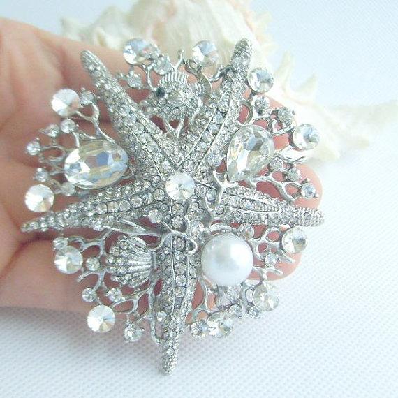 Mariage - Wedding Accessories, Bridal Rhinestone Starfish Brooch, Bridal Starfish Brooch Pin w Clear Rhinestone Crystal, Bridesmaid Jewelry, BP06412C1