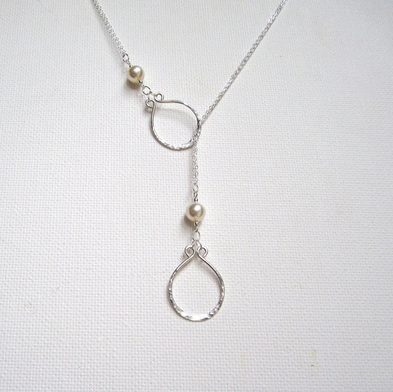 Wedding - Lariat Necklace Pearl Necklace Pearl Drop Necklace Sterling Silver Pearl Necklace Mommy Necklace Hammered Silver Necklace Bridal Necklace