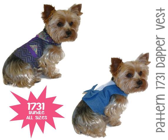 Dapper Dog Vest Pattern 1731 * Bundle All Sizes * Dog Clothes Sewing