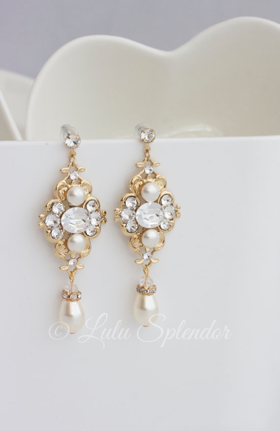 Gold Bridal Earrings Ivory Pearl Wedding Swarovski Crystals Vintage Style Jewelry Leila
