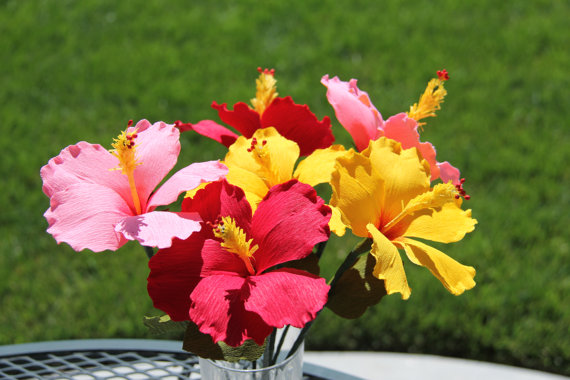 Mariage - Hibiscus Flowers  - Paper Flowers- Crepe Paper Flowers