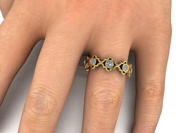 Mariage - Diamond Wedding Eternity Band, Elegant and Modern Engagement ring, matching band