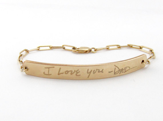 Personalized Gold Engraved Bracelet Bar Id Actual Handwriting Monogram Jewelry Wedding