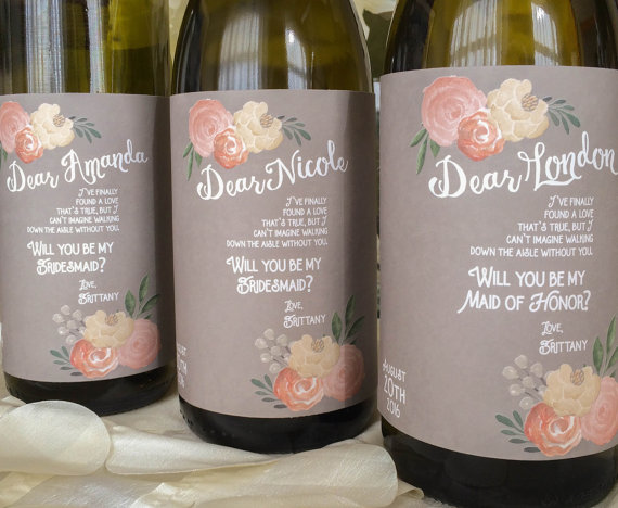 Will You Be My Bridesmaid Gift Personalized Gifts Taupe Custom Wine Label Unique Wedding Shower