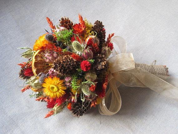 Wedding Autumn Country Bridal Bouquet Rustic Wedding Dried Flower ...