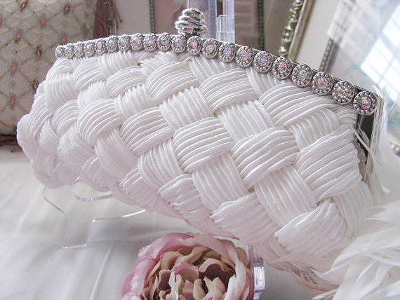 Mariage - bridal, rhinestone, clutches, Weddings, bridesmaid, Wedding clutch, Bridesmaid purse, wedding purse, Bags and purses, satin clutch