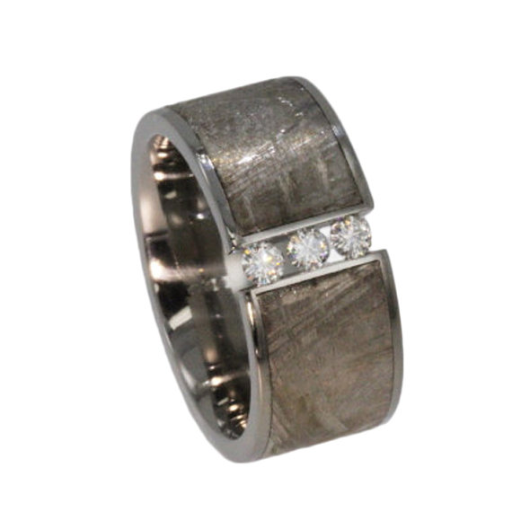 Meteorite band mens engagement ring moissanite stones for Mens wedding rings with stones