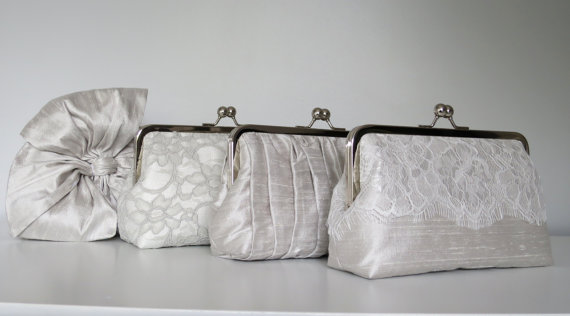 Hochzeit - SALE, 15% OFF, Mis Matched Bridesmaid Clutches Set of 4,Bridal Accessories,Wedding Clutch,Lace Clutch,Bridesmaid Clutch