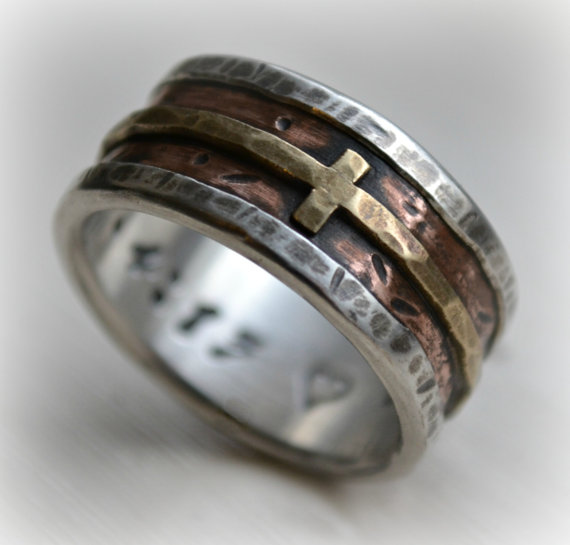 Свадьба - mens wedding band - rustic fine silver copper and brass cross - handmade artisan designed wide band ring - manly Christian ring - customized